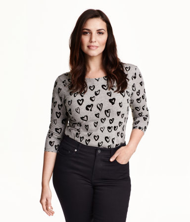 + Jersey Top - neckline: round neck; style: t-shirt; predominant colour: light grey; secondary colour: black; occasions: casual; length: standard; fibres: cotton - stretch; fit: body skimming; sleeve length: 3/4 length; sleeve style: standard; pattern type: fabric; pattern size: standard; pattern: patterned/print; texture group: jersey - stretchy/drapey; season: a/w 2015; wardrobe: highlight