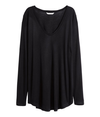 + Wide Jersey Top - neckline: v-neck; pattern: plain; predominant colour: black; occasions: casual; length: standard; style: top; fibres: viscose/rayon - 100%; fit: loose; sleeve length: long sleeve; sleeve style: standard; pattern type: fabric; texture group: jersey - stretchy/drapey; season: a/w 2015; wardrobe: basic