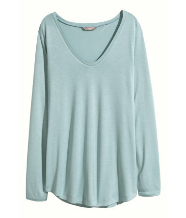 + Wide Jersey Top - neckline: v-neck; pattern: plain; predominant colour: pistachio; occasions: casual; length: standard; style: top; fibres: viscose/rayon - 100%; fit: loose; sleeve length: long sleeve; sleeve style: standard; pattern type: fabric; texture group: jersey - stretchy/drapey; season: a/w 2015