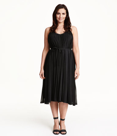 + Sleeveless Dress - style: shift; length: below the knee; sleeve style: standard vest straps/shoulder straps; fit: empire; pattern: plain; waist detail: belted waist/tie at waist/drawstring; predominant colour: black; occasions: casual, evening, creative work; neckline: scoop; fibres: polyester/polyamide - 100%; sleeve length: sleeveless; pattern type: fabric; texture group: jersey - stretchy/drapey; season: a/w 2015; wardrobe: basic
