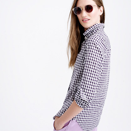 Boy Shirt In Mini Gingham - neckline: shirt collar/peter pan/zip with opening; pattern: checked/gingham; length: below the bottom; style: shirt; predominant colour: black; occasions: casual, creative work; fibres: cotton - 100%; fit: body skimming; sleeve length: long sleeve; sleeve style: standard; texture group: cotton feel fabrics; pattern type: fabric; pattern size: big & busy (top); season: a/w 2015; wardrobe: highlight