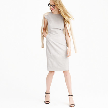 Résumé Dress - style: shift; fit: tailored/fitted; pattern: plain; sleeve style: sleeveless; predominant colour: light grey; occasions: evening, occasion, creative work; length: on the knee; neckline: crew; sleeve length: sleeveless; pattern type: fabric; texture group: woven light midweight; season: a/w 2015