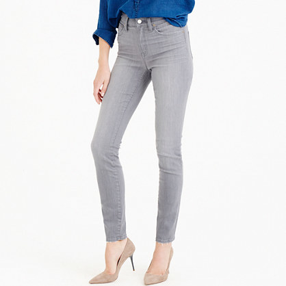 Lookout High Rise Jean In Medium Grey - style: skinny leg; length: standard; pattern: plain; waist: high rise; pocket detail: traditional 5 pocket; predominant colour: light grey; occasions: casual; fibres: cotton - stretch; texture group: denim; pattern type: fabric; season: a/w 2015; wardrobe: highlight