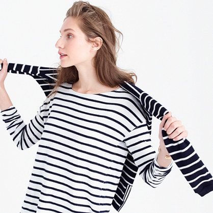Deck Striped T Shirt - neckline: slash/boat neckline; pattern: horizontal stripes; style: t-shirt; predominant colour: white; secondary colour: black; occasions: casual; length: standard; fibres: cotton - stretch; fit: loose; sleeve length: long sleeve; sleeve style: standard; pattern type: fabric; pattern size: standard; texture group: jersey - stretchy/drapey; season: a/w 2015