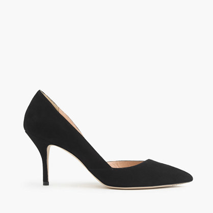 Colette Suede D'orsay Pumps - predominant colour: black; occasions: evening, work, occasion, creative work; material: suede; heel height: high; heel: stiletto; toe: pointed toe; style: courts; finish: plain; pattern: plain; season: a/w 2015; wardrobe: investment