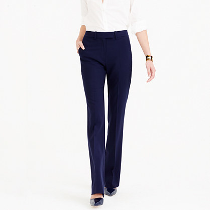 Preston Pant In Italian Stretch Wool - length: standard; pattern: plain; waist: high rise; predominant colour: navy; occasions: work; fibres: wool - stretch; fit: straight leg; pattern type: fabric; texture group: woven light midweight; style: standard; season: a/w 2015; wardrobe: basic