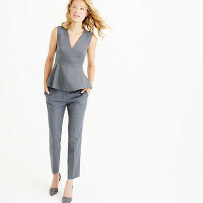 Peplum Top In Super 120s Wool - neckline: v-neck; pattern: plain; sleeve style: sleeveless; waist detail: peplum waist detail; predominant colour: mid grey; occasions: evening, work, occasion; length: standard; style: top; fibres: wool - 100%; fit: tailored/fitted; sleeve length: sleeveless; pattern type: fabric; texture group: woven light midweight; season: a/w 2015; wardrobe: basic