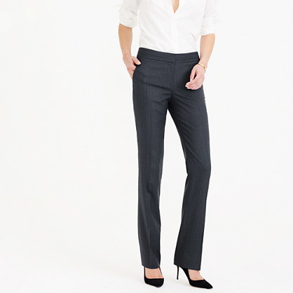 Campbell Trouser In Pinstripe Super 120s Wool - length: standard; pattern: pinstripe; waist: high rise; predominant colour: charcoal; occasions: work; fibres: wool - 100%; fit: straight leg; pattern type: fabric; texture group: woven light midweight; style: standard; pattern size: big & busy (bottom); season: a/w 2015