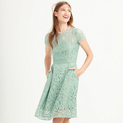 Alisa Dress In Leavers Lace - predominant colour: pistachio; occasions: evening, occasion; length: just above the knee; fit: fitted at waist & bust; style: fit & flare; fibres: cotton - mix; neckline: crew; sleeve length: short sleeve; sleeve style: standard; texture group: lace; pattern type: fabric; pattern: patterned/print; season: a/w 2015