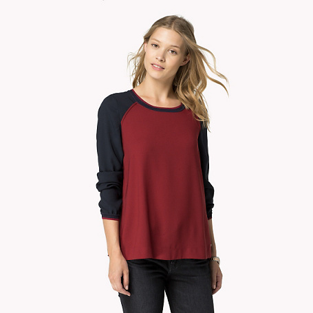 Maggia Long Sleeve Blouse - neckline: round neck; sleeve style: raglan; secondary colour: navy; occasions: casual, creative work; length: standard; style: top; fit: loose; sleeve length: long sleeve; pattern type: fabric; pattern size: standard; pattern: colourblock; texture group: jersey - stretchy/drapey; predominant colour: raspberry; season: a/w 2015; wardrobe: highlight