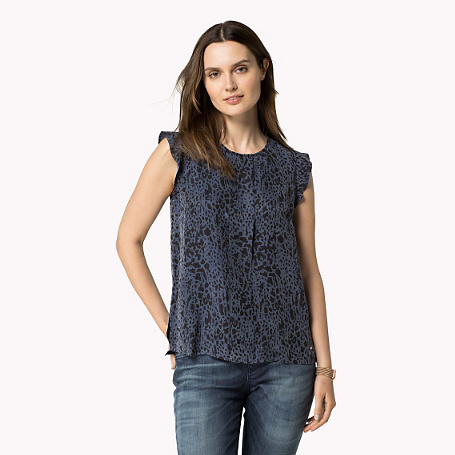 Magna Short Sleeve Blouse - sleeve style: angel/waterfall; style: blouse; predominant colour: navy; occasions: casual, creative work; length: standard; fit: body skimming; neckline: crew; sleeve length: short sleeve; pattern type: fabric; pattern: patterned/print; texture group: jersey - stretchy/drapey; pattern size: big & busy (top); season: a/w 2015