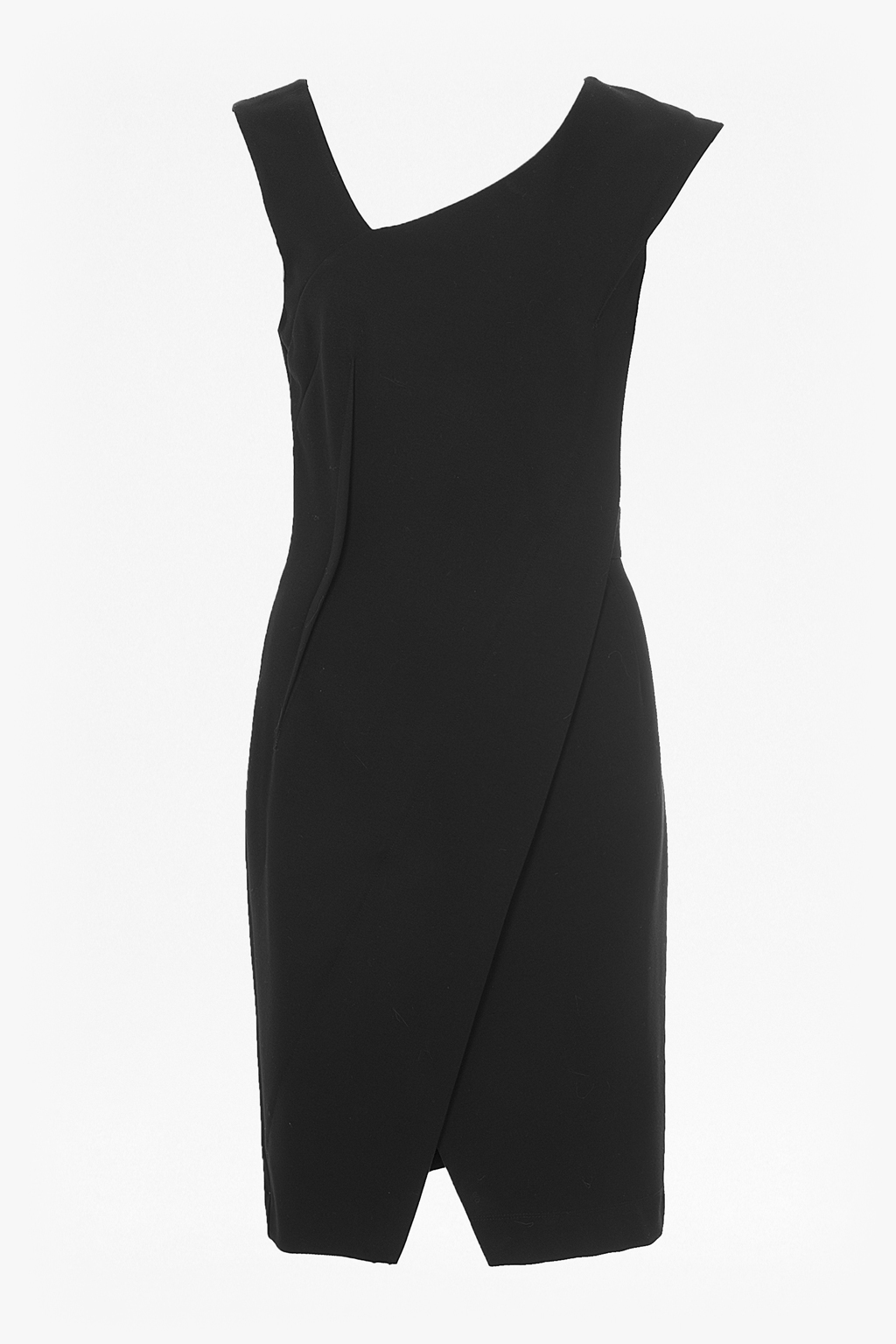 Lula Stretch Asymmetric Dress Acid Blonde - fit: tailored/fitted; pattern: plain; sleeve style: sleeveless; style: asymmetric (top); neckline: asymmetric; predominant colour: black; occasions: evening, occasion; length: just above the knee; fibres: polyester/polyamide - 100%; sleeve length: sleeveless; texture group: crepes; pattern type: fabric; season: a/w 2015