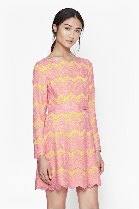 Linea Lace Shift Dress Acid Blonde Atomic Pink - length: mid thigh; neckline: round neck; predominant colour: pink; secondary colour: yellow; occasions: evening, occasion; fit: fitted at waist & bust; style: fit & flare; fibres: cotton - mix; sleeve length: long sleeve; sleeve style: standard; texture group: lace; pattern type: fabric; pattern: patterned/print; embellishment: lace; multicoloured: multicoloured; season: a/w 2015