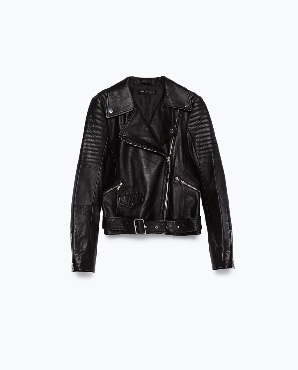 Leather Jacket - pattern: plain; style: biker; collar: asymmetric biker; predominant colour: black; occasions: casual, creative work; length: standard; fit: straight cut (boxy); fibres: leather - 100%; sleeve length: long sleeve; sleeve style: standard; texture group: leather; collar break: medium; pattern type: fabric; embellishment: quilted; season: a/w 2015; wardrobe: basic