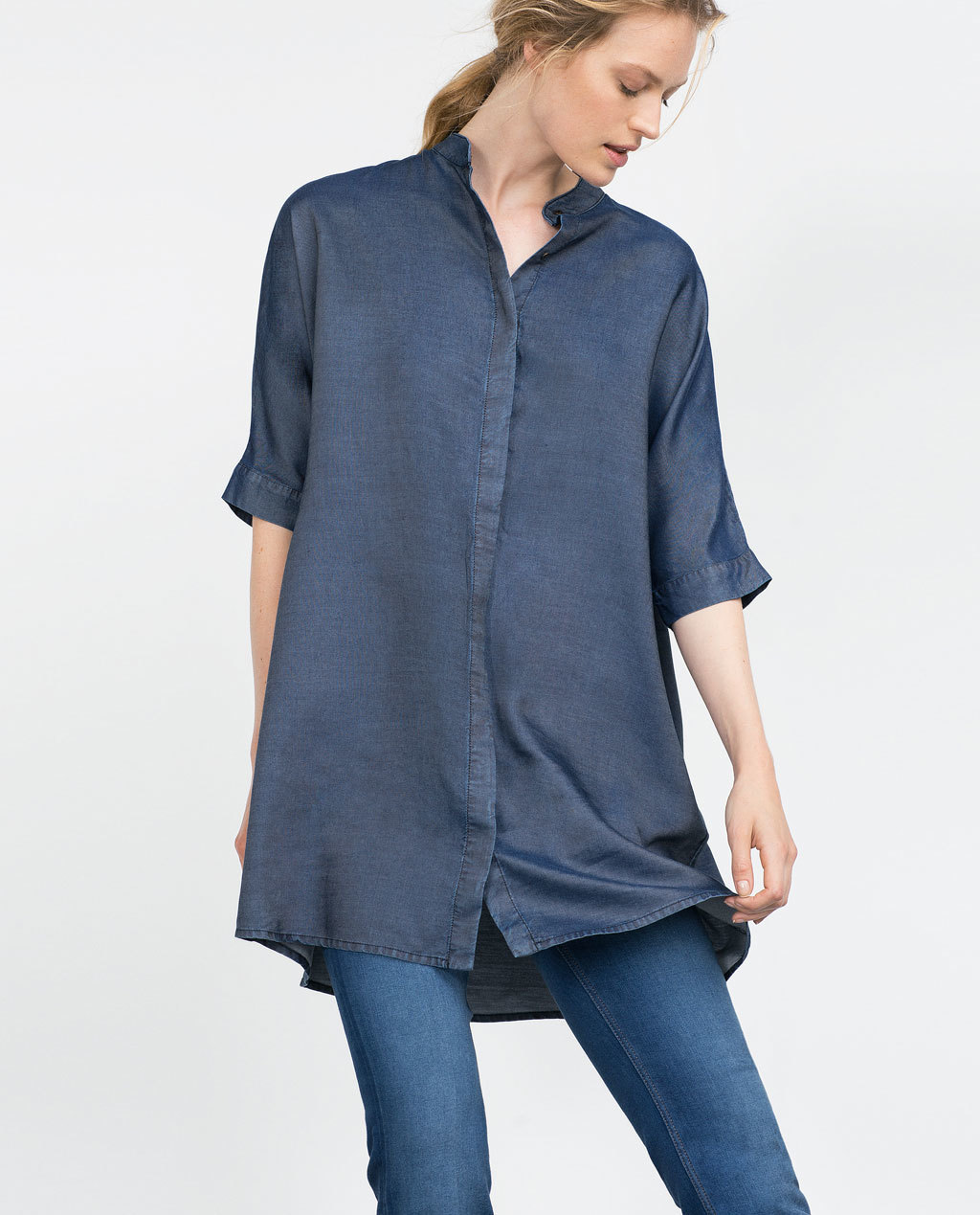 Oversize Longline Shirt - neckline: shirt collar/peter pan/zip with opening; pattern: plain; style: shirt; predominant colour: navy; occasions: casual, creative work; fibres: viscose/rayon - 100%; fit: loose; length: mid thigh; sleeve length: 3/4 length; sleeve style: standard; pattern type: fabric; texture group: woven light midweight; season: a/w 2015; wardrobe: basic