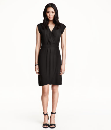 Wrap Dress - style: faux wrap/wrap; neckline: v-neck; sleeve style: capped; fit: fitted at waist; pattern: plain; predominant colour: black; occasions: evening, creative work; length: just above the knee; sleeve length: short sleeve; pattern type: fabric; texture group: woven light midweight; season: a/w 2015; wardrobe: investment