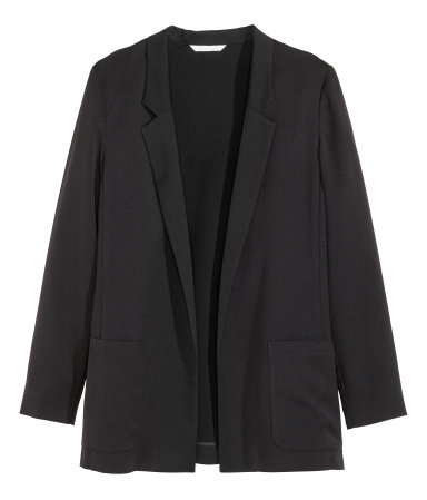 Jacket - pattern: plain; style: single breasted blazer; length: below the bottom; collar: standard lapel/rever collar; predominant colour: black; occasions: casual, evening, work, creative work; fit: tailored/fitted; sleeve length: long sleeve; sleeve style: standard; collar break: low/open; pattern type: fabric; texture group: woven light midweight; season: a/w 2015; wardrobe: basic