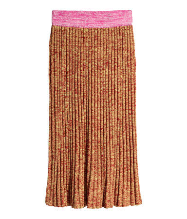 Rib Knit Skirt - length: below the knee; waist: mid/regular rise; secondary colour: pink; predominant colour: tan; occasions: casual; fibres: acrylic - mix; style: tube; texture group: knits/crochet; fit: straight cut; pattern type: knitted - other; pattern: colourblock; season: a/w 2015; wardrobe: highlight; embellishment location: waist