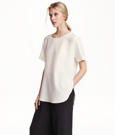 Silk Blouse - neckline: round neck; pattern: plain; length: below the bottom; style: t-shirt; predominant colour: white; occasions: casual, work, creative work; fibres: silk - 100%; fit: loose; hip detail: dip hem; sleeve length: half sleeve; sleeve style: standard; texture group: silky - light; pattern type: fabric; season: a/w 2015; wardrobe: basic