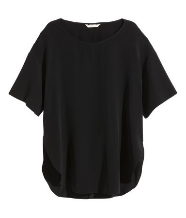 Silk Blouse - neckline: round neck; pattern: plain; length: below the bottom; style: t-shirt; predominant colour: black; occasions: casual, work, creative work; fibres: silk - 100%; fit: loose; sleeve length: half sleeve; sleeve style: standard; texture group: silky - light; pattern type: fabric; season: a/w 2015; wardrobe: basic