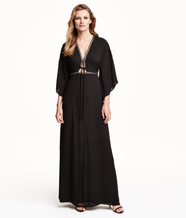 Beaded Kimono Dress - neckline: plunge; fit: empire; pattern: plain; style: maxi dress; length: ankle length; secondary colour: gold; predominant colour: black; occasions: evening; fibres: polyester/polyamide - 100%; sleeve length: 3/4 length; sleeve style: standard; texture group: sheer fabrics/chiffon/organza etc.; pattern type: fabric; embellishment: beading; season: a/w 2015; wardrobe: event; embellishment location: bust, waist