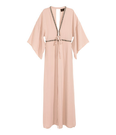 Beaded Kimono Dress - neckline: plunge; fit: fitted at waist; pattern: plain; style: maxi dress; sleeve style: kimono; back detail: back revealing; predominant colour: blush; secondary colour: gold; length: floor length; fibres: polyester/polyamide - 100%; occasions: occasion; sleeve length: 3/4 length; texture group: sheer fabrics/chiffon/organza etc.; pattern type: fabric; embellishment: beading; season: a/w 2015; wardrobe: event; embellishment location: bust, waist