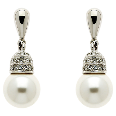 Rhodium Plated Swarovski Crystal Faux Pearl Earrings, Silver - secondary colour: ivory/cream; predominant colour: silver; occasions: evening, occasion; style: drop; length: mid; size: standard; material: chain/metal; fastening: pierced; finish: metallic; embellishment: pearls; season: a/w 2015; wardrobe: event