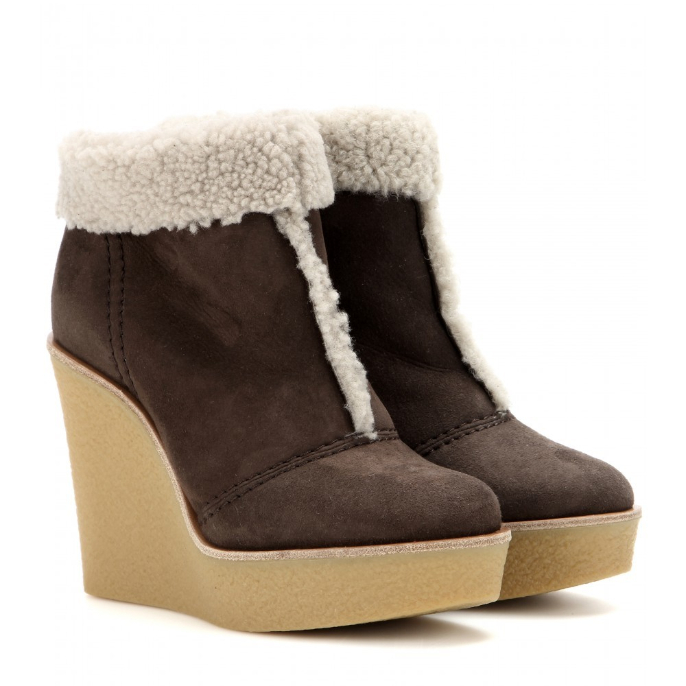 Suede And Shearling Wedge Ankle Boots - predominant colour: chocolate brown; material: suede; heel: wedge; toe: round toe; boot length: ankle boot; style: standard; finish: plain; pattern: plain; heel height: very high; season: a/w 2015; trends: warm and fuzzy; wardrobe: highlight