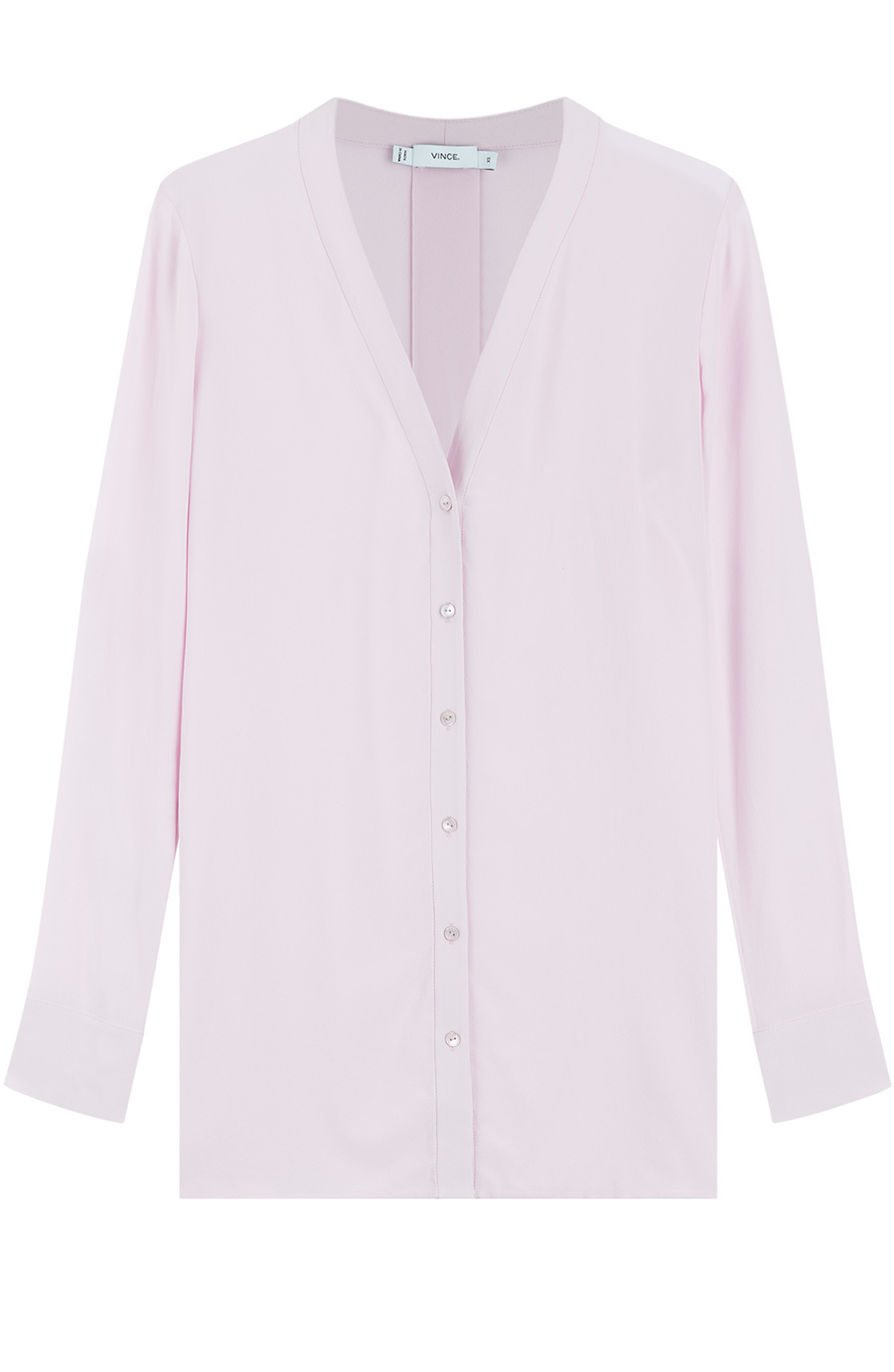 Silk Blouse Rose - neckline: v-neck; pattern: plain; length: below the bottom; style: blouse; predominant colour: blush; occasions: work, creative work; fibres: silk - 100%; fit: straight cut; back detail: longer hem at back than at front; sleeve length: long sleeve; sleeve style: standard; texture group: silky - light; pattern type: fabric; season: a/w 2015; trends: pink aw 15; wardrobe: basic