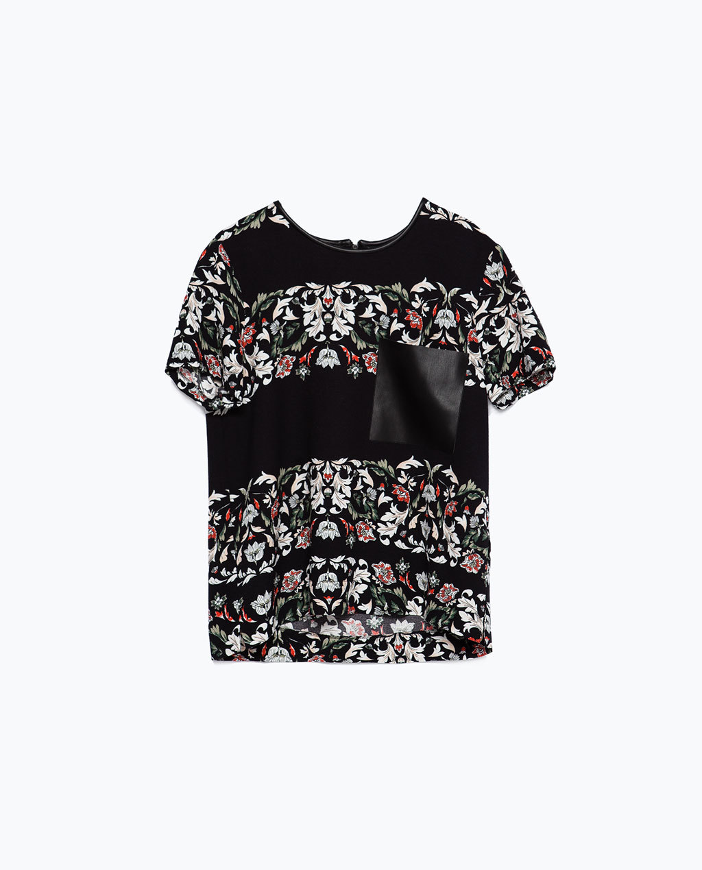 Printed Top - secondary colour: black; occasions: casual, evening, creative work; length: standard; style: top; fibres: polyester/polyamide - stretch; fit: straight cut; neckline: crew; sleeve length: short sleeve; sleeve style: standard; pattern type: fabric; pattern size: standard; pattern: florals; texture group: woven light midweight; predominant colour: raspberry; multicoloured: multicoloured; season: a/w 2015; wardrobe: highlight