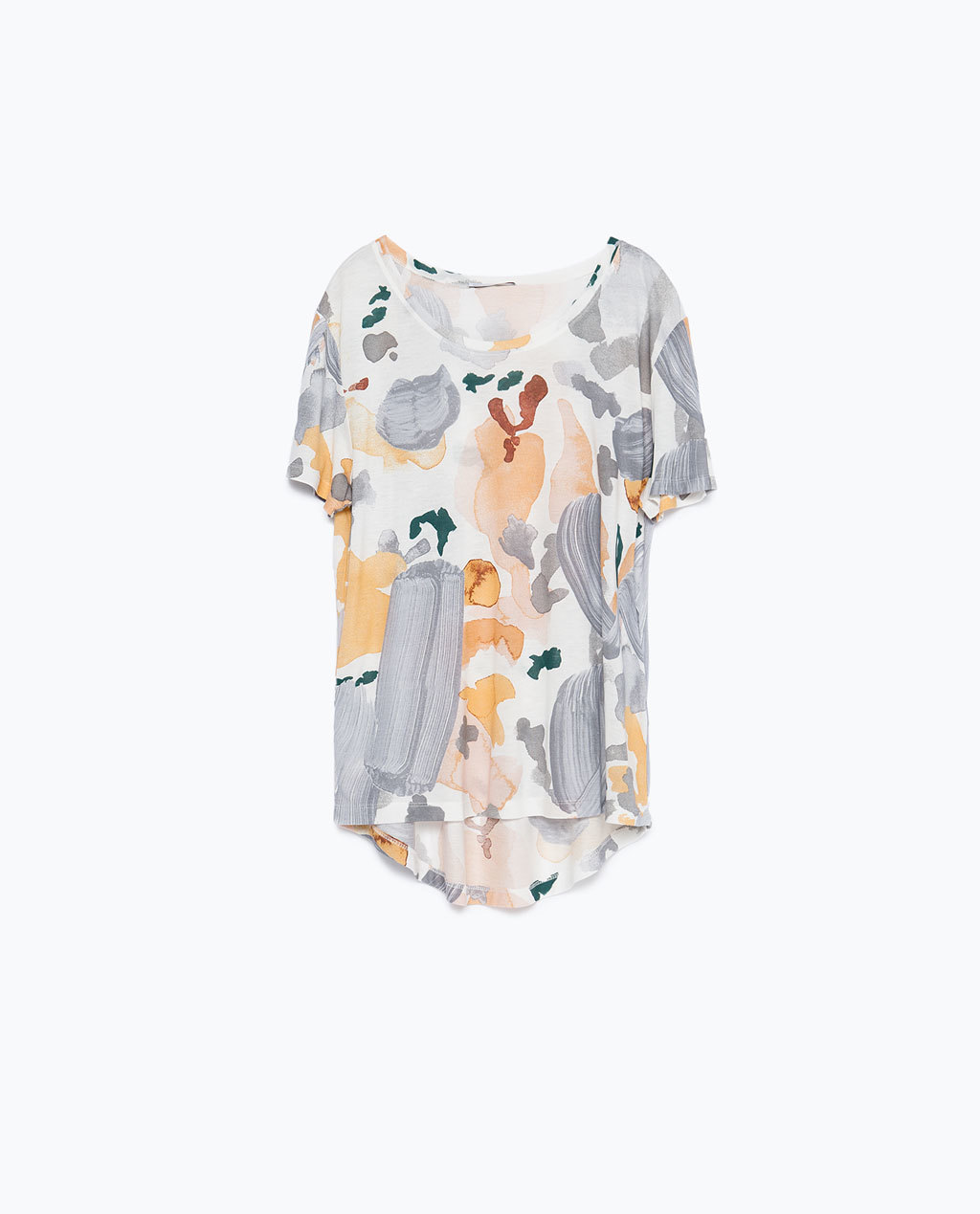 Flower Print T Shirt - neckline: round neck; length: below the bottom; style: t-shirt; secondary colour: bright orange; predominant colour: mid grey; occasions: casual, creative work; fibres: viscose/rayon - 100%; fit: loose; sleeve length: short sleeve; sleeve style: standard; pattern type: fabric; pattern: florals; texture group: jersey - stretchy/drapey; pattern size: big & busy (top); multicoloured: multicoloured; season: a/w 2015; wardrobe: highlight