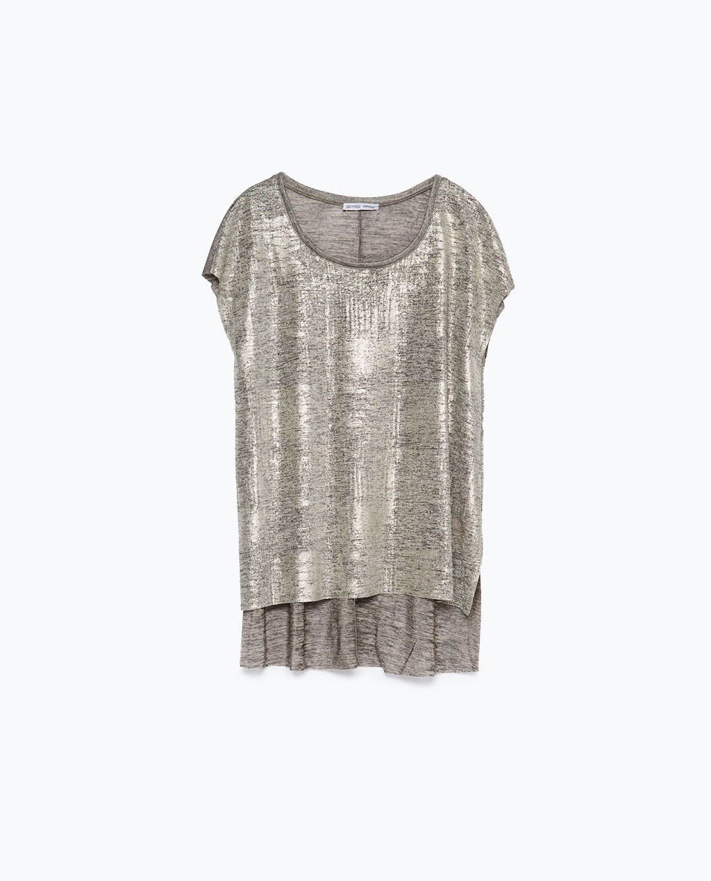 Metallic T Shirt - pattern: plain; length: below the bottom; style: t-shirt; predominant colour: silver; occasions: casual; neckline: scoop; fibres: polyester/polyamide - stretch; fit: loose; sleeve length: short sleeve; sleeve style: standard; pattern type: fabric; texture group: jersey - stretchy/drapey; season: a/w 2015; wardrobe: highlight