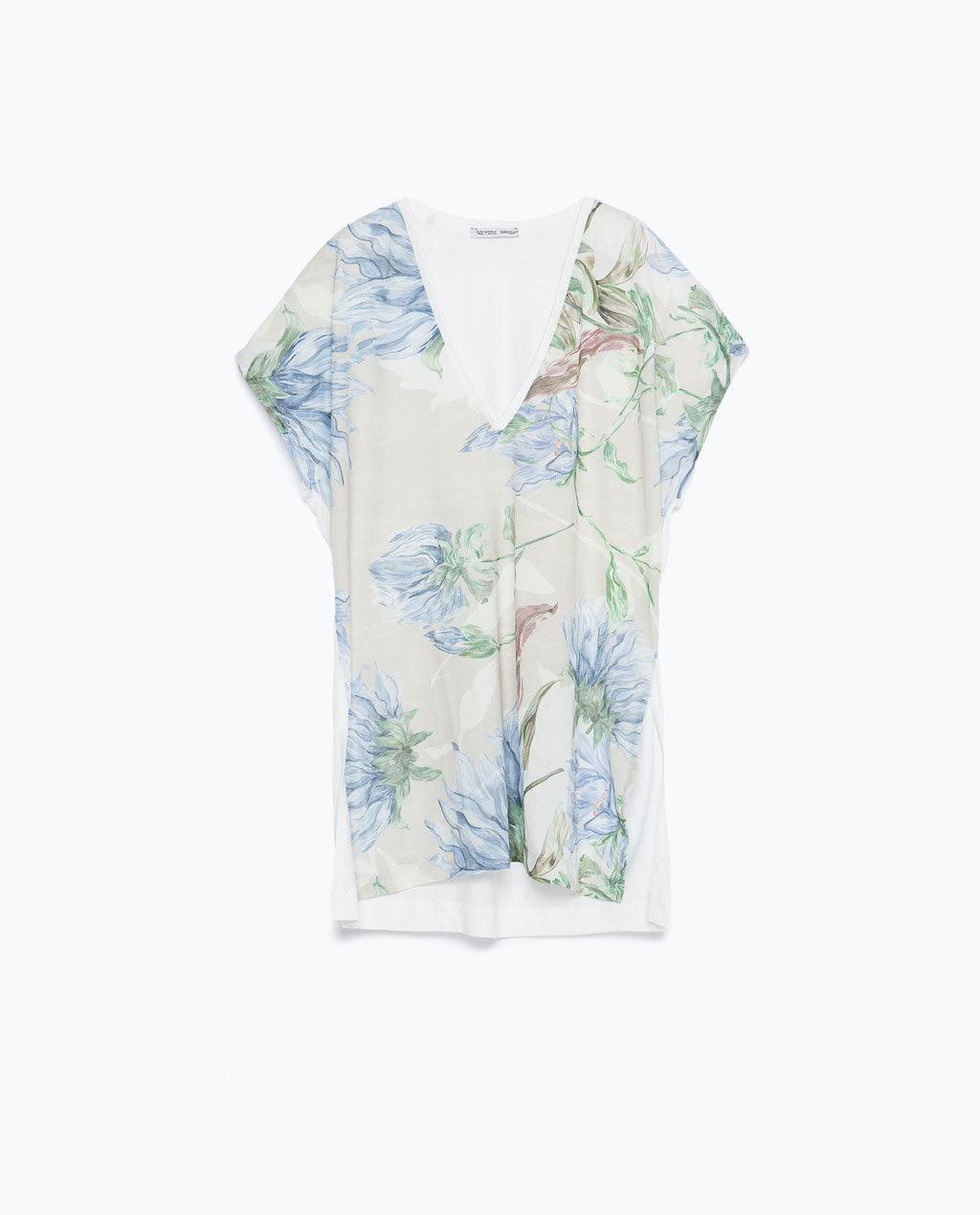 Floral T Shirt - neckline: low v-neck; length: below the bottom; style: t-shirt; secondary colour: ivory/cream; predominant colour: pale blue; occasions: casual; fibres: viscose/rayon - 100%; fit: loose; sleeve length: short sleeve; sleeve style: standard; pattern type: fabric; pattern: florals; texture group: jersey - stretchy/drapey; pattern size: big & busy (top); multicoloured: multicoloured; season: a/w 2015; wardrobe: highlight
