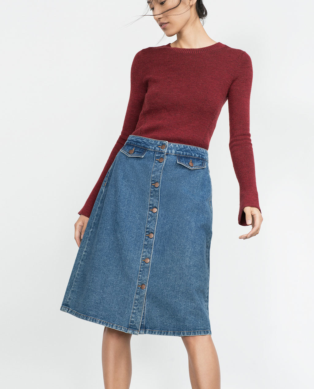 Vintage Style Denim Skirt - length: below the knee; pattern: plain; fit: loose/voluminous; waist: high rise; predominant colour: denim; occasions: casual; style: a-line; fibres: cotton - 100%; texture group: denim; pattern type: fabric; season: a/w 2015; wardrobe: basic