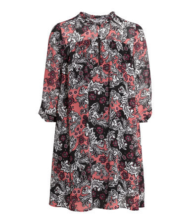 Chiffon Dress - style: tunic; length: mid thigh; fit: loose; pattern: paisley; sleeve style: balloon; secondary colour: pink; predominant colour: black; occasions: casual; neckline: collarstand; fibres: polyester/polyamide - 100%; sleeve length: 3/4 length; texture group: sheer fabrics/chiffon/organza etc.; pattern type: fabric; pattern size: big & busy; multicoloured: multicoloured; season: a/w 2015