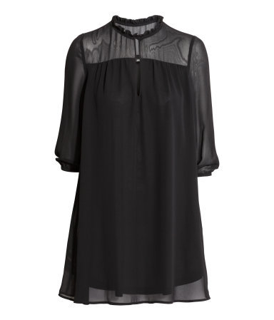 Chiffon Dress - style: tunic; length: mid thigh; pattern: plain; sleeve style: balloon; predominant colour: black; occasions: evening; fit: soft a-line; neckline: collarstand; fibres: polyester/polyamide - 100%; sleeve length: 3/4 length; texture group: sheer fabrics/chiffon/organza etc.; pattern type: fabric; shoulder detail: sheer at shoulder; season: a/w 2015; wardrobe: event
