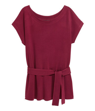 Top With A Belt - pattern: plain; waist detail: belted waist/tie at waist/drawstring; predominant colour: burgundy; occasions: casual, creative work; length: standard; style: top; neckline: scoop; fit: loose; sleeve length: short sleeve; sleeve style: standard; pattern type: fabric; texture group: jersey - stretchy/drapey; season: a/w 2015