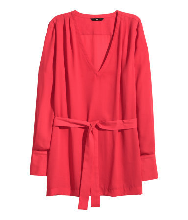 V Neck Blouse - neckline: low v-neck; pattern: plain; length: below the bottom; style: blouse; waist detail: belted waist/tie at waist/drawstring; predominant colour: true red; occasions: casual, creative work; fit: straight cut; sleeve length: long sleeve; sleeve style: standard; texture group: crepes; pattern type: fabric; season: a/w 2015; wardrobe: highlight