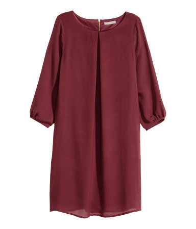 Chiffon Dress - style: shift; length: mid thigh; neckline: round neck; pattern: plain; sleeve style: balloon; predominant colour: burgundy; occasions: evening; fit: soft a-line; fibres: polyester/polyamide - 100%; sleeve length: 3/4 length; texture group: sheer fabrics/chiffon/organza etc.; bust detail: bulky details at bust; pattern type: fabric; season: a/w 2015; wardrobe: event