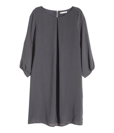 Chiffon Dress - style: shift; length: mid thigh; neckline: round neck; pattern: plain; sleeve style: balloon; predominant colour: charcoal; occasions: evening, creative work; fit: soft a-line; fibres: polyester/polyamide - 100%; sleeve length: 3/4 length; texture group: sheer fabrics/chiffon/organza etc.; bust detail: tiers/frills/bulky drapes/pleats; pattern type: fabric; season: a/w 2015