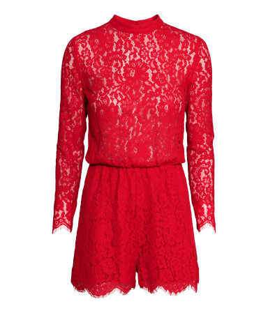 Lace Playsuit - fit: tailored/fitted; length: short shorts; predominant colour: true red; occasions: evening; neckline: collarstand; fibres: cotton - mix; sleeve length: long sleeve; sleeve style: standard; texture group: lace; style: playsuit; pattern type: fabric; pattern size: standard; pattern: patterned/print; season: a/w 2015; wardrobe: event
