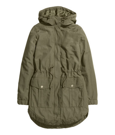 Parka - pattern: plain; collar: funnel; fit: loose; style: parka; back detail: hood; length: mid thigh; predominant colour: khaki; occasions: casual; waist detail: belted waist/tie at waist/drawstring; sleeve length: long sleeve; sleeve style: standard; collar break: high; pattern type: fabric; texture group: other - light to midweight; fibres: viscose/rayon - mix; season: a/w 2015; wardrobe: basic