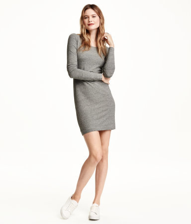Short Jersey Dress - style: t-shirt; length: mini; pattern: plain; hip detail: draws attention to hips; predominant colour: mid grey; occasions: casual; fit: body skimming; neckline: scoop; fibres: viscose/rayon - stretch; sleeve length: long sleeve; sleeve style: standard; pattern type: fabric; texture group: jersey - stretchy/drapey; season: a/w 2015; wardrobe: basic