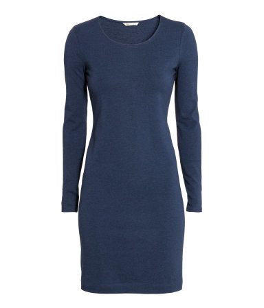 Short Jersey Dress - pattern: plain; style: bodycon; hip detail: fitted at hip; predominant colour: denim; occasions: casual; length: just above the knee; fit: body skimming; neckline: scoop; sleeve length: long sleeve; sleeve style: standard; pattern type: fabric; texture group: jersey - stretchy/drapey; season: a/w 2015; wardrobe: highlight