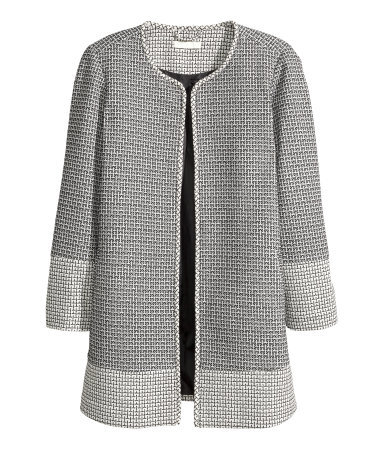 + Patterned Coat - length: below the bottom; collar: round collar/collarless; style: single breasted; secondary colour: white; predominant colour: mid grey; occasions: casual, creative work; fit: straight cut (boxy); sleeve length: long sleeve; sleeve style: standard; collar break: low/open; pattern type: fabric; pattern size: standard; pattern: patterned/print; texture group: jersey - stretchy/drapey; season: a/w 2015