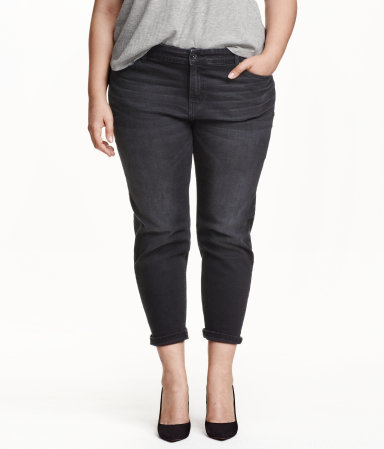+ Girlfriend Jeans - style: skinny leg; pattern: plain; pocket detail: traditional 5 pocket; waist: mid/regular rise; predominant colour: black; occasions: casual, creative work; length: calf length; fibres: cotton - stretch; jeans & bottoms detail: turn ups; texture group: denim; pattern type: fabric; season: a/w 2015; wardrobe: basic