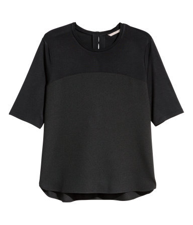 + Short Sleeved Blouse - neckline: round neck; pattern: plain; style: t-shirt; predominant colour: black; occasions: casual, creative work; length: standard; fibres: viscose/rayon - 100%; fit: body skimming; back detail: keyhole/peephole detail at back; sleeve length: half sleeve; sleeve style: standard; texture group: crepes; pattern type: fabric; season: a/w 2015; wardrobe: basic