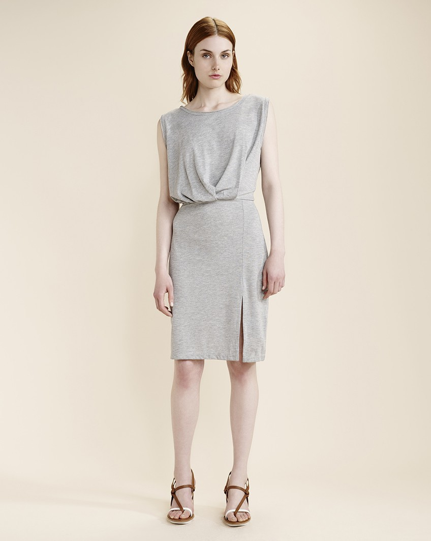 Grey Soni Shift Dress - style: shift; neckline: round neck; fit: fitted at waist; pattern: plain; sleeve style: sleeveless; back detail: low cut/open back; bust detail: ruching/gathering/draping/layers/pintuck pleats at bust; predominant colour: light grey; length: on the knee; fibres: polyester/polyamide - mix; occasions: occasion, creative work; sleeve length: sleeveless; pattern type: fabric; texture group: jersey - stretchy/drapey; season: a/w 2015; wardrobe: highlight