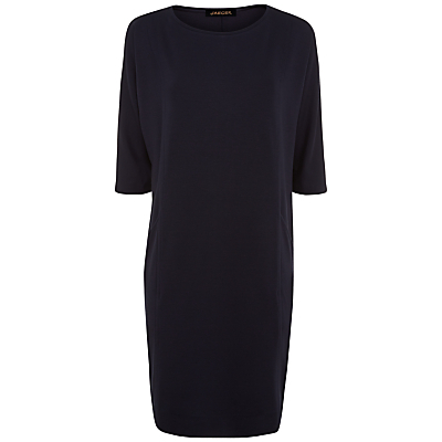 Seamed Detail Jersey Dress, Midnight Blue - style: shift; neckline: round neck; pattern: plain; predominant colour: navy; length: on the knee; fit: body skimming; fibres: polyester/polyamide - 100%; sleeve length: half sleeve; sleeve style: standard; pattern type: fabric; texture group: jersey - stretchy/drapey; occasions: creative work; season: a/w 2015; wardrobe: investment