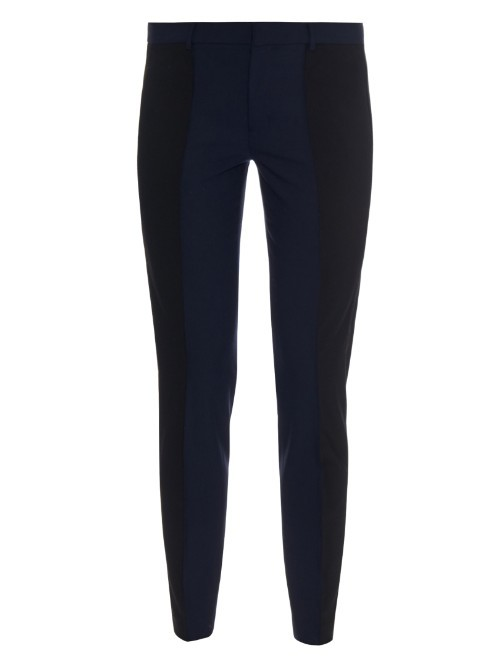Bi Colour Slim Leg Trousers - length: standard; waist: mid/regular rise; predominant colour: navy; secondary colour: black; occasions: casual, creative work; fit: slim leg; pattern type: fabric; pattern: colourblock; texture group: woven light midweight; style: standard; season: a/w 2015